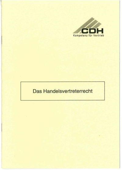 Deckblatt Das Handelsvertreterrecht §§ 84 bis §§ 92 c HGB